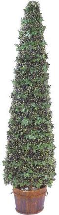 72 inch ivy & boxwood artificial topiary in tower shape